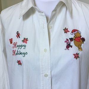 Vintage DISNEY POOH embroidered white shirt XL